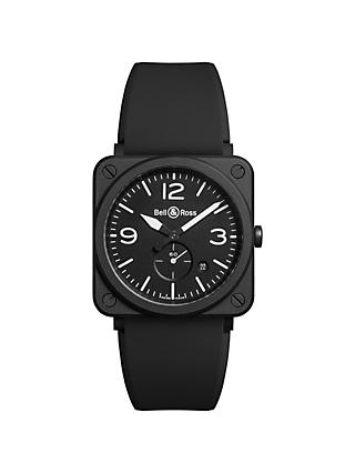 Bell & Ross BRS-BL-CEM Unisex Ceramic Rubber Strap Watch, Black