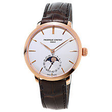 Buy Frédérique Constant FC-703V3S4 Men's Slimline Moonphase Automatic Rose Gold Plated Leather Strap Watch, Brown/White Online at johnlewis.com