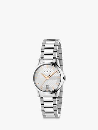 Gucci YA126523 Women's G-Timeless Stainless Steel Bracelet Strap Watch, Silver