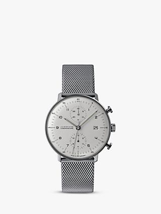 Junghans 027/4003.48 Men's Max Bill Self-Winding Chronoscope Bracelet Strap Watch, Silver/White