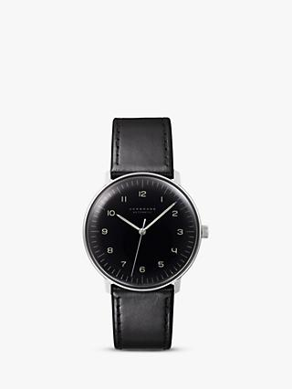 Junghans 027/3400.04 Men's Max Bill Automatic Leather Strap Watch, Black