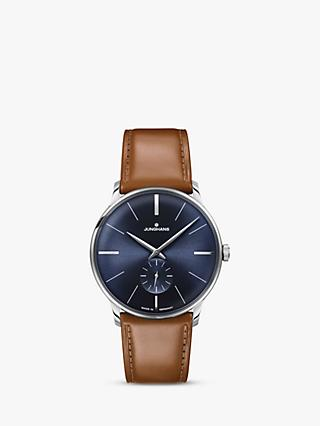 Junghans 027/3504.00 Men's Meister Leather Strap Watch, Tan/Navy
