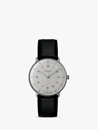 Junghans 027/3500.04 Men's Max Bill Automatic Leather Strap Watch, Black/White