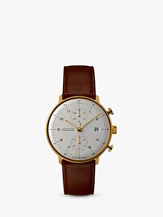 Junghans 027/7800.00 Men's Chronoscope Chronograph Date Leather Strap Watch, Camel/Silver