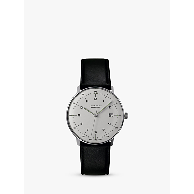 Junghans 027/4700.00 Men's Max Bill Automatic Leather Strap Watch, Black/White