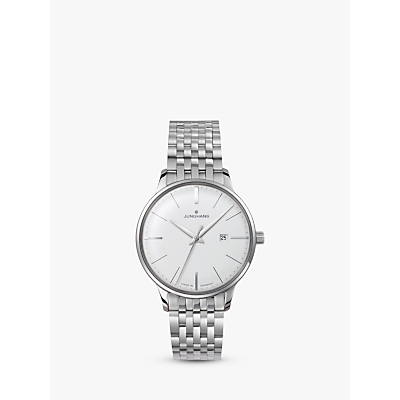 Junghans 047/4372.44 Women's Meister Date Bracelet Strap Watch, Silver/White