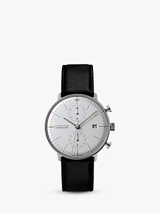 Junghans 027/4600.04 Men's Max Bill Chronoscope Leather Strap Watch, Black/White