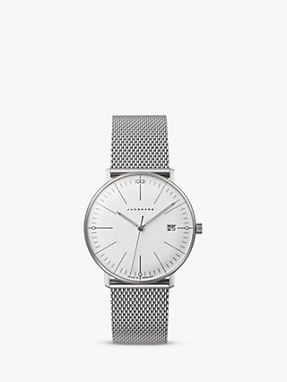 Junghans 047/4250 Women's Max Bill Date Bracelet Strap Watch, Silver/White