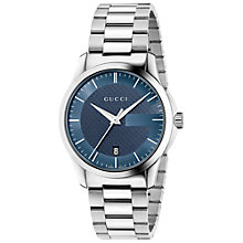 Buy Gucci YA126440 Men's Stainless Steel Bracelet Strap Watch, Silver/Blue Online at johnlewis.com