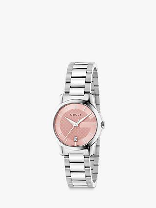 Gucci YA126524 Women's G-Timeless Stainless Steel Bracelet Strap Watch, Silver/Pink