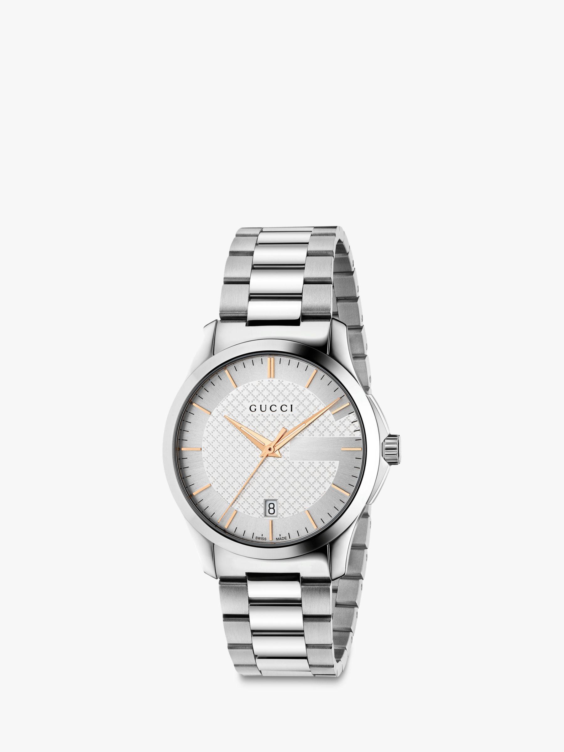 Gucci Gucci YA126442 Unisex G-Timeless Date Bracelet Strap Watch, Silver
