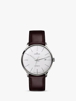 Junghans 027/4310.00 Men's Meister Classic Self-Winding Leather Strap Watch, Brown/White