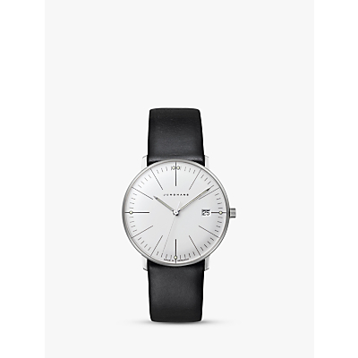 Junghans 047/4251.00 Women's Max Bill Date Leather Strap Watch, Black/White