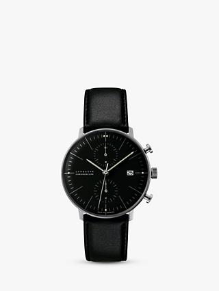 Junghans 027/4601.04 Men's Max Bill Chronoscope Leather Strap Watch, Black