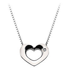 Buy Hot Diamonds Open Heart Sterling Silver Diamond Pendant Necklace, Silver Online at johnlewis.com