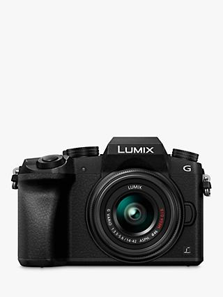 "Panasonic Lumix DMC-G7 Compact System Camera with 14-42mm OIS Lens, 4K, 16MP, 4x Digital Zoom, Wi-Fi, OLED Viewfinder, 3"" Tilt Screen Display"