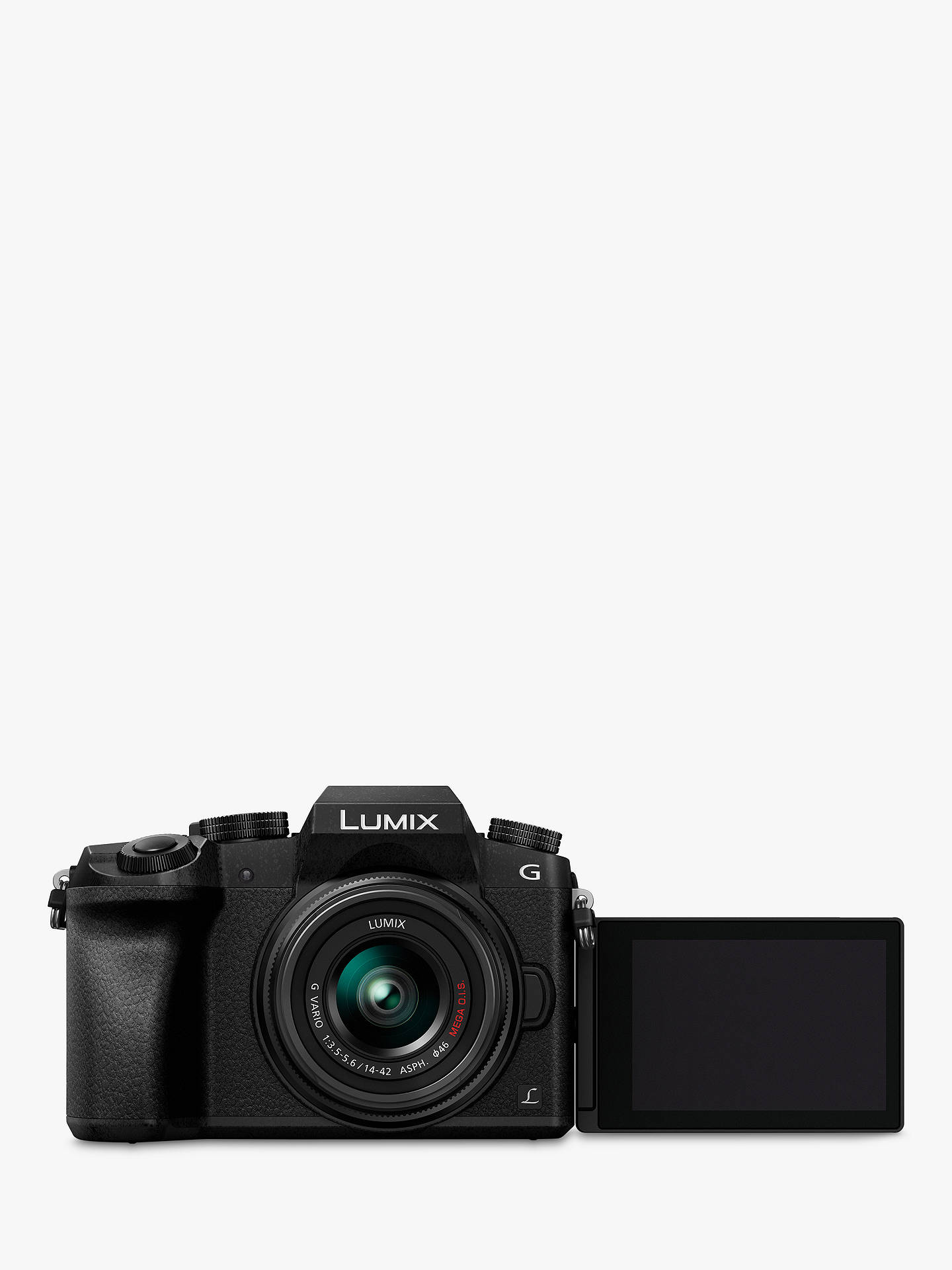 "Buy Panasonic Lumix DMC-G7 Compact System Camera with 14-42mm OIS Lens, 4K, 16MP, 4x Digital Zoom, Wi-Fi, OLED Viewfinder, 3"" Tilt Screen Display Online at johnlewis.com"