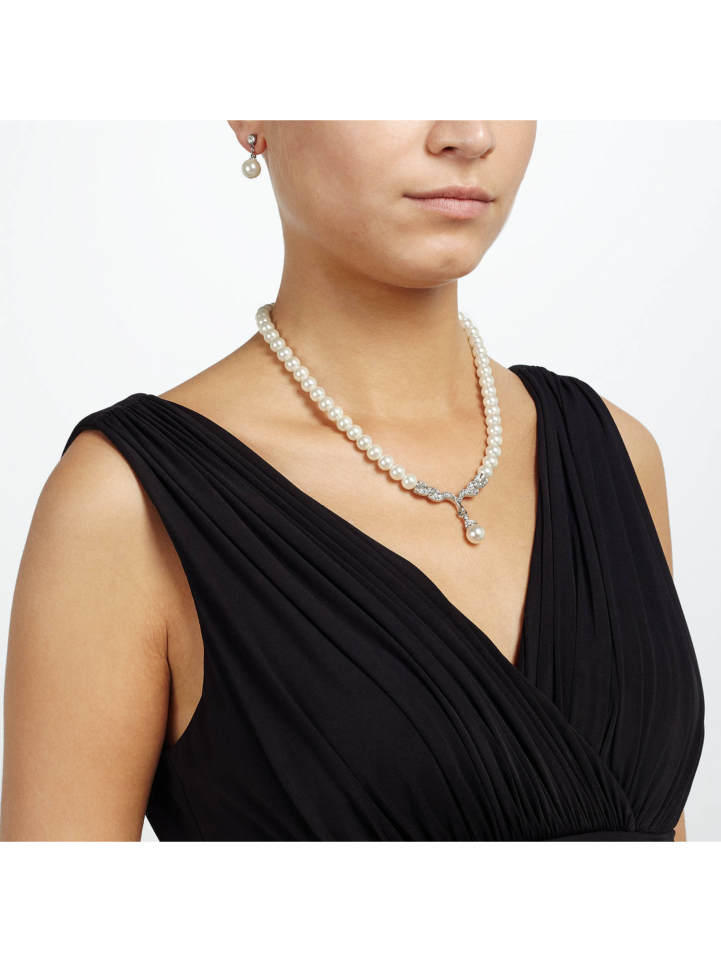 Buy John Lewis Pearl Drop Necklace and Earrings Set, White Online at johnlewis.com