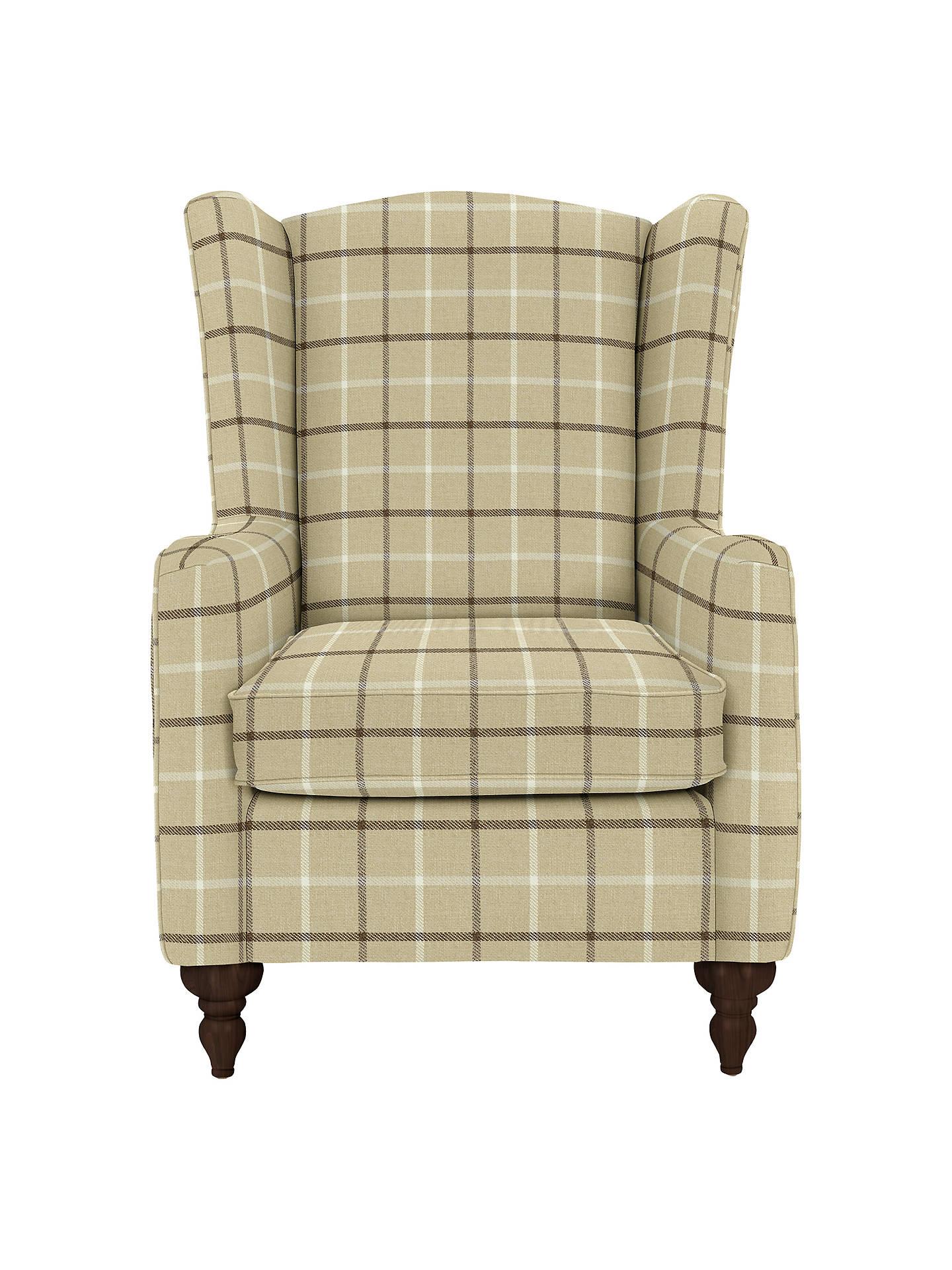 John Lewis Devon Wing Armchair With Dark Legs Oakley Check Putty At