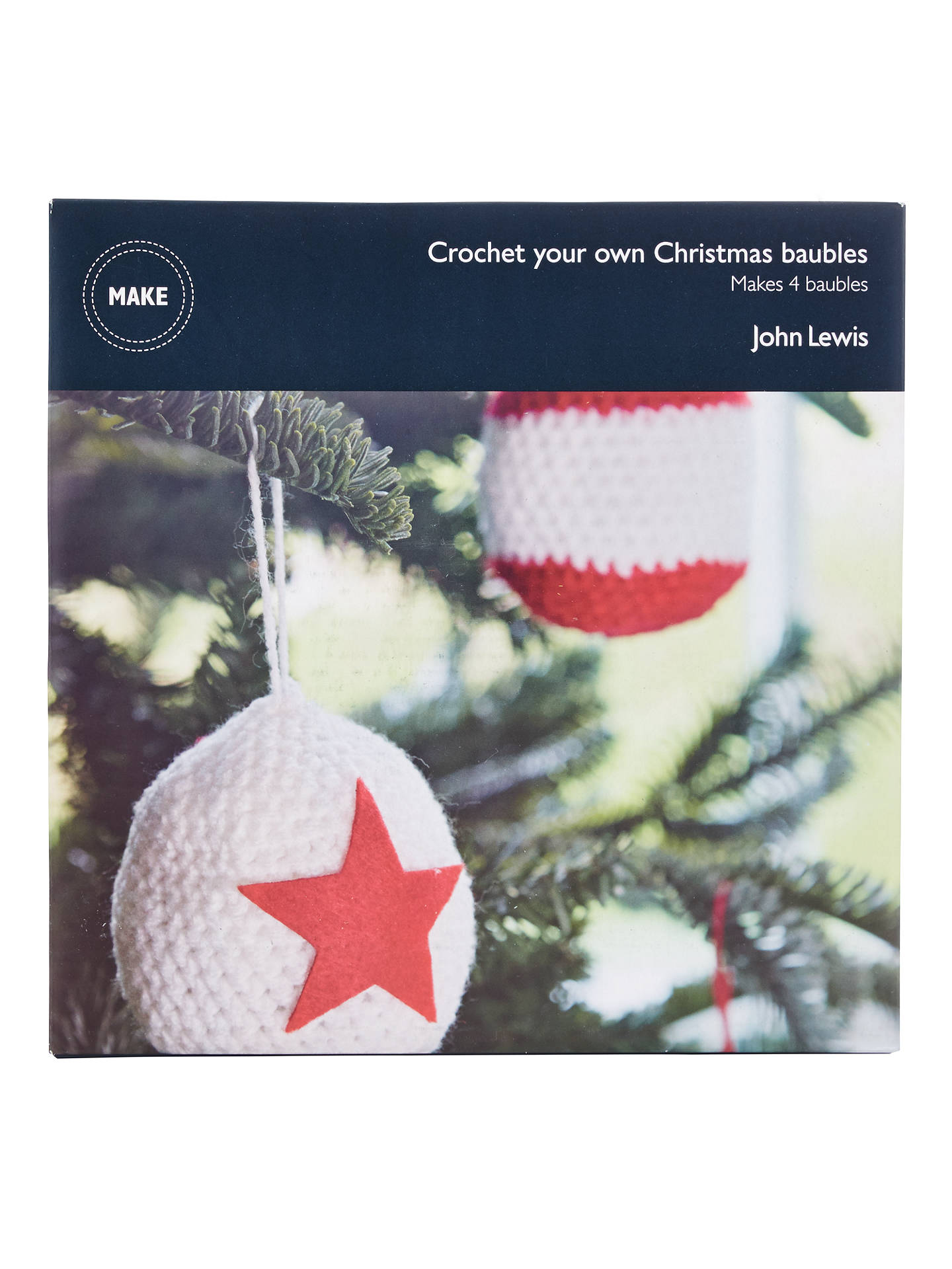BuyJohn Lewis Make Your Own Crochet Christmas Baubles, Pack of 4, Red/White ...