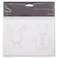 Buy John Lewis Create Children's Colour In Cards, Pack of 4, White Online at johnlewis.com