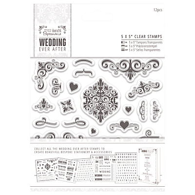 Docrafts Wedding Ever After Stamps, Clear, 5 x 5, 12pcs