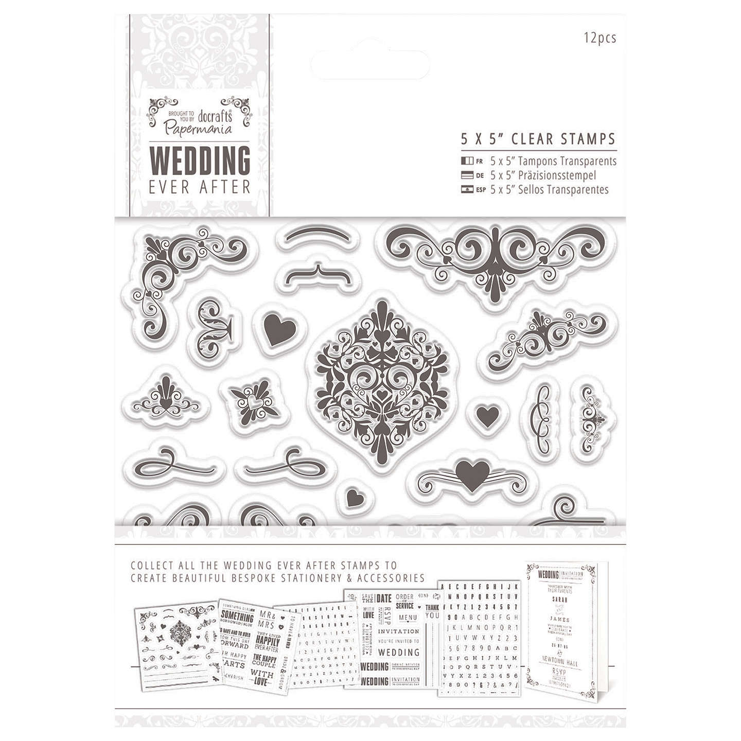 Docrafts Wedding Ever After Stamps, Clear, 5 x 5\