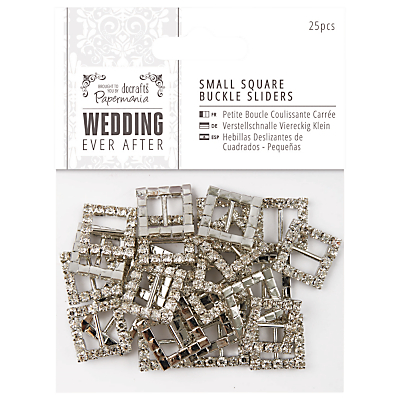 Docrafts Wedding Ever After Small Square Buckle Sliders, Silver, Pack of 25
