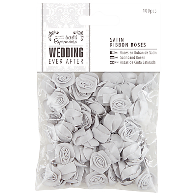 Docrafts Wedding Ever After Satin Ribbon Roses, Silver, 100pcs
