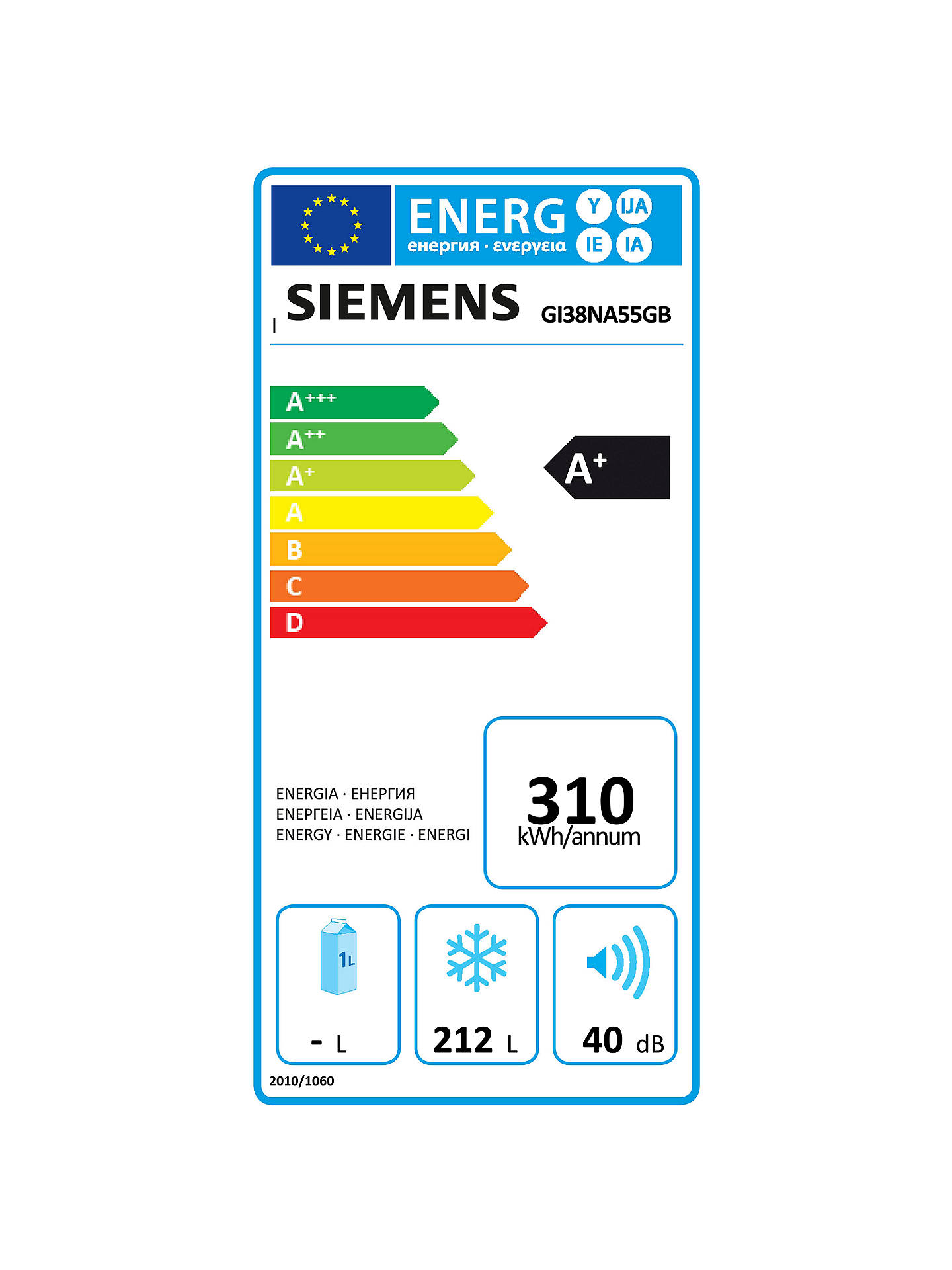 BuySiemens GI38NA55GB Integrated Tall Freezer, A+ Energy Rating, 56 cm Wide Online at johnlewis.com