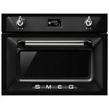 Buy Smeg SF4920MCN Victoria Integrated Compact Combi Microwave Oven, Black Online at johnlewis.com