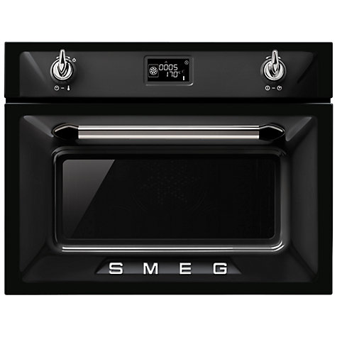 Smeg Sf4920mcn Victoria Integrated Compact Combi Microwave Oven Black Online At Johnlewis