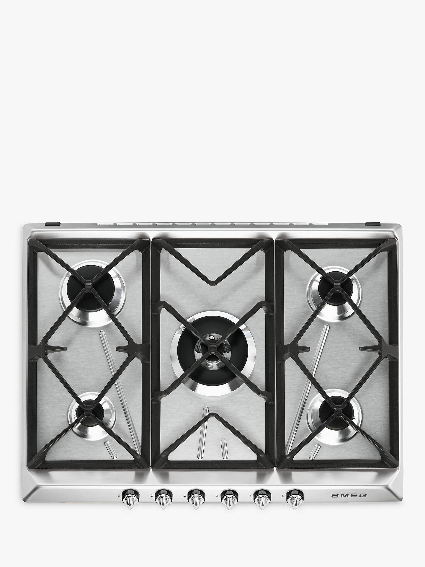 BuySmeg SR975XGH Victoria Integrated Gas Hob, Stainless Steel Online at johnlewis.com