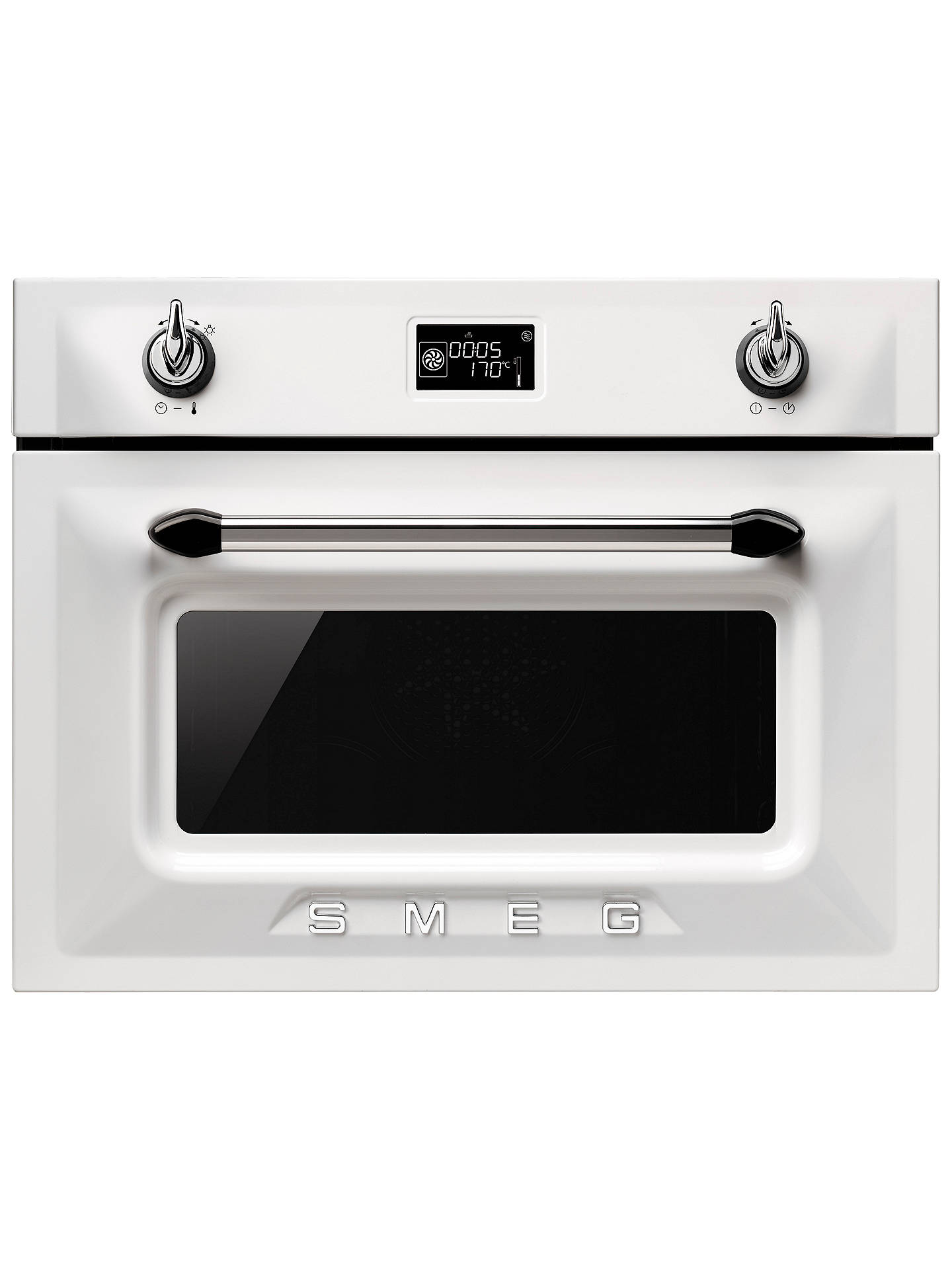Smeg SF4920MCB Victoria Integrated Compact Combi Microwave Oven, White at John Lewis & Partners