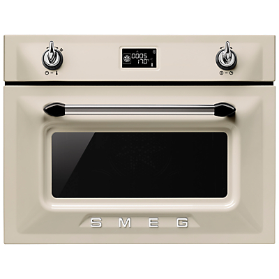 Image of Smeg SF4920MCP Victoria Integrated Compact Combi Microwave Oven, Cream