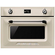 Buy Smeg SF4920MCP Victoria Integrated Compact Combi Microwave Oven, Cream Online at johnlewis.com