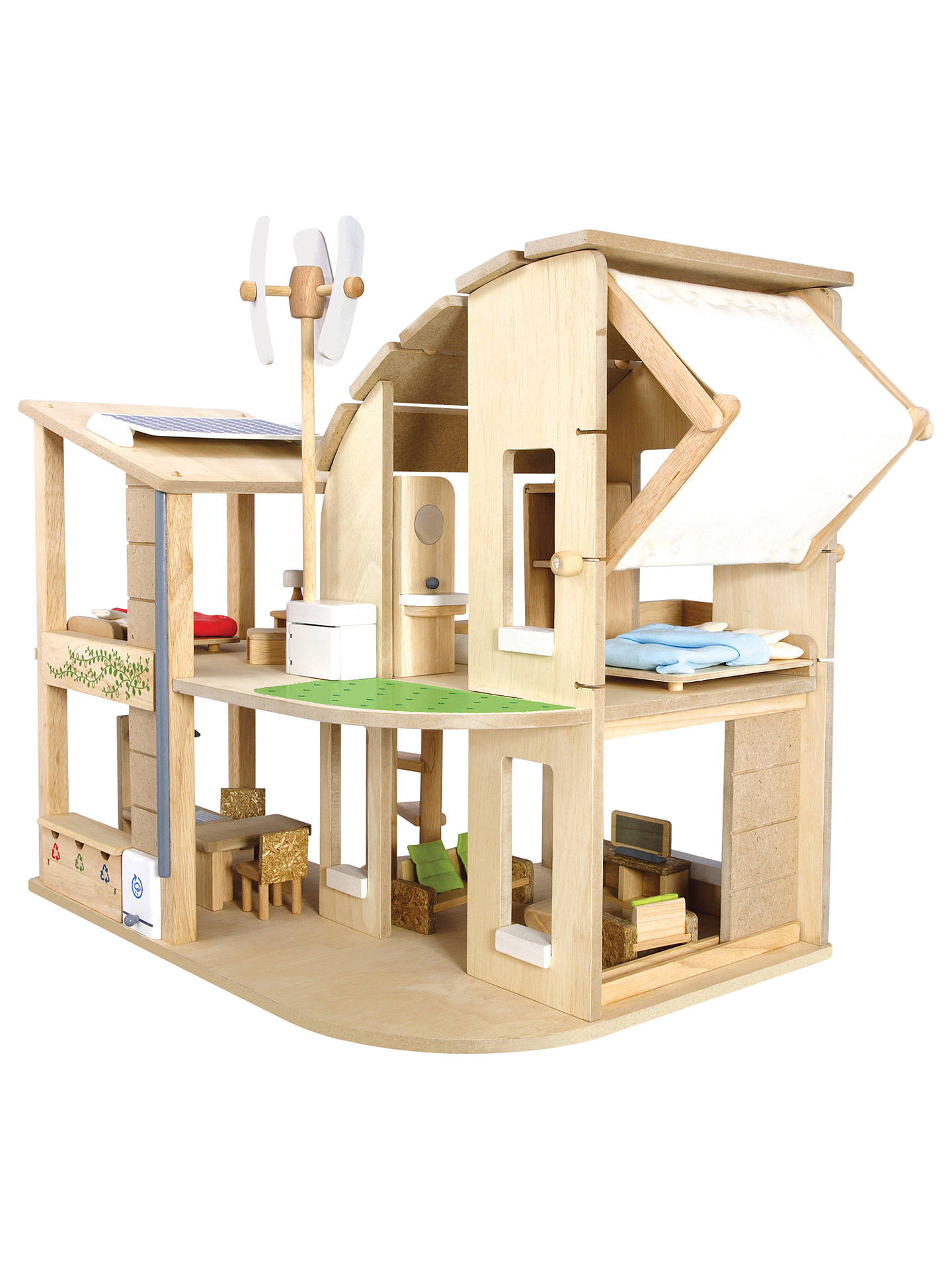 plan toys green dollhouse at john lewis & partners