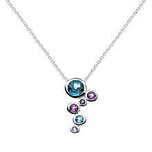 Buy Kit Heath Sterling Silver Cascade Topaz Amethyst Pendant Necklace, Silver Online at johnlewis.com