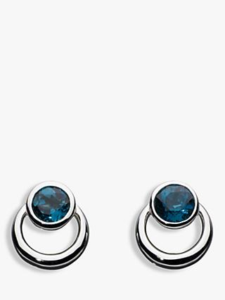 Kit Heath Sterling Silver Simmer Loop Blue Topaz Earrings, Silver
