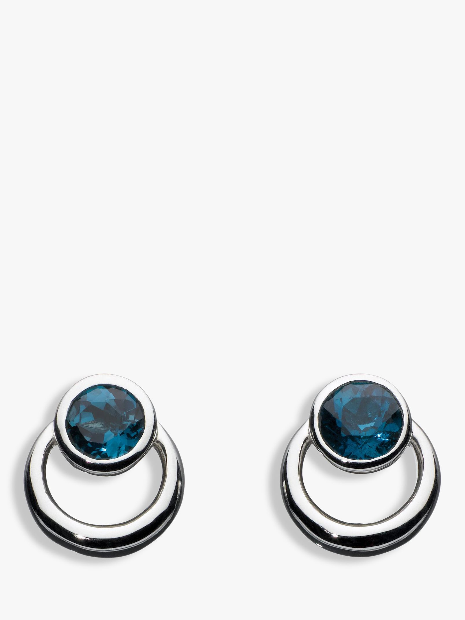 Kit Heath Kit Heath Sterling Silver Simmer Loop Blue Topaz Earrings, Silver