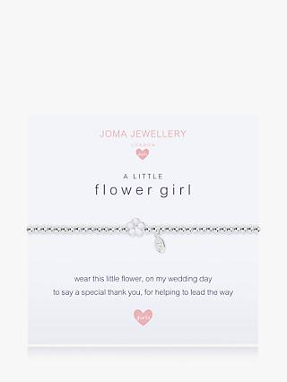 Joma Jewellery Sterling Silver Plated A Little Flower Girl Bracelet, Silver