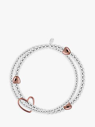 Joma Jewellery Lila Sterling Silver Plated Rose Gold Heart Bracelet, Silver