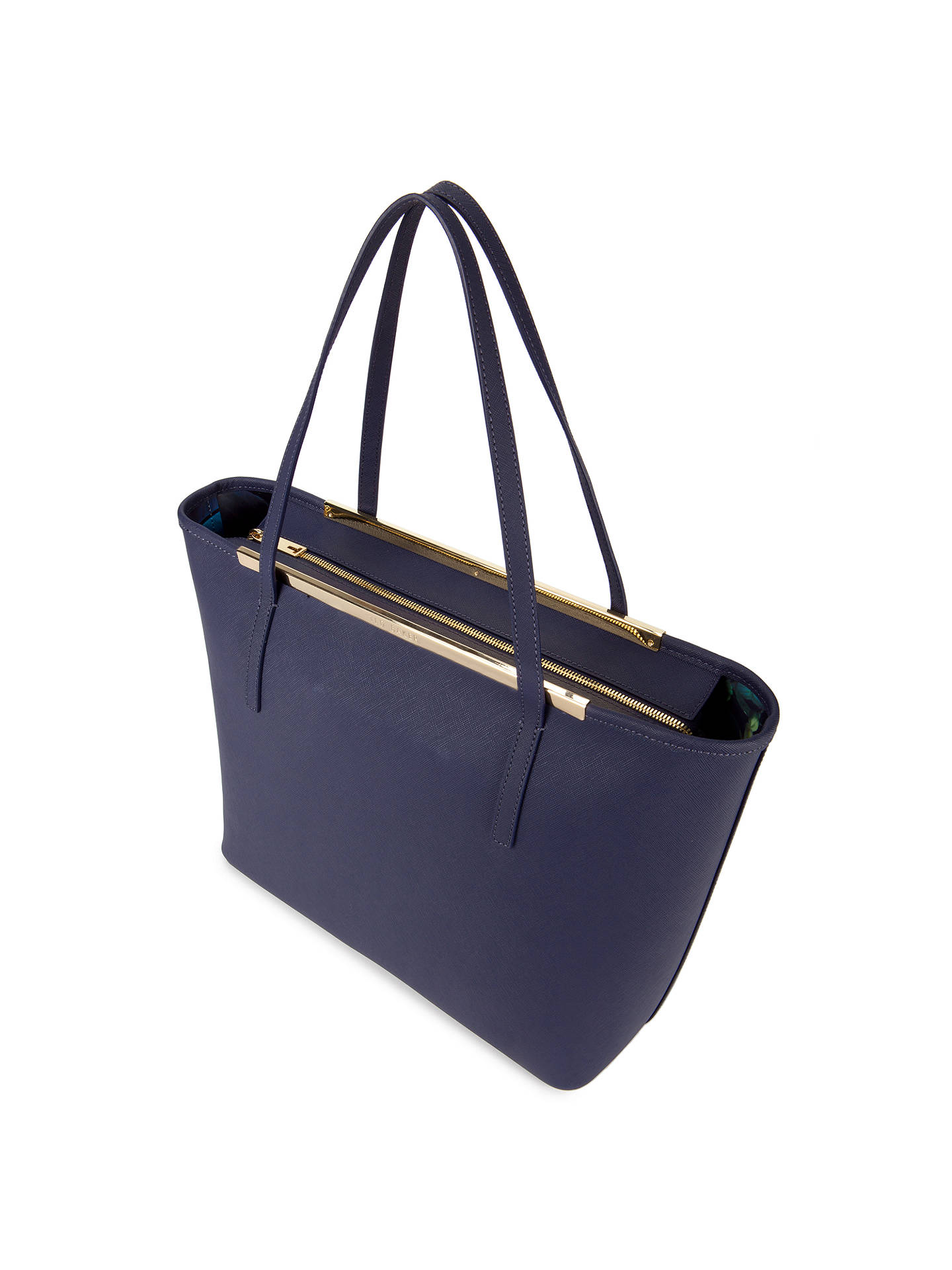 6c6a89bfd8 ... Buy Ted Baker Noelle Crosshatch Leather Shopper Bag, Dark Blue Online  at johnlewis.com ...