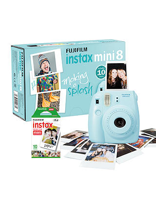 Buy Fujifilm Instax Mini 8 Instant Camera with 10 Shots of Film, Built-In Flash & Hand Strap, Blue Online at johnlewis.com