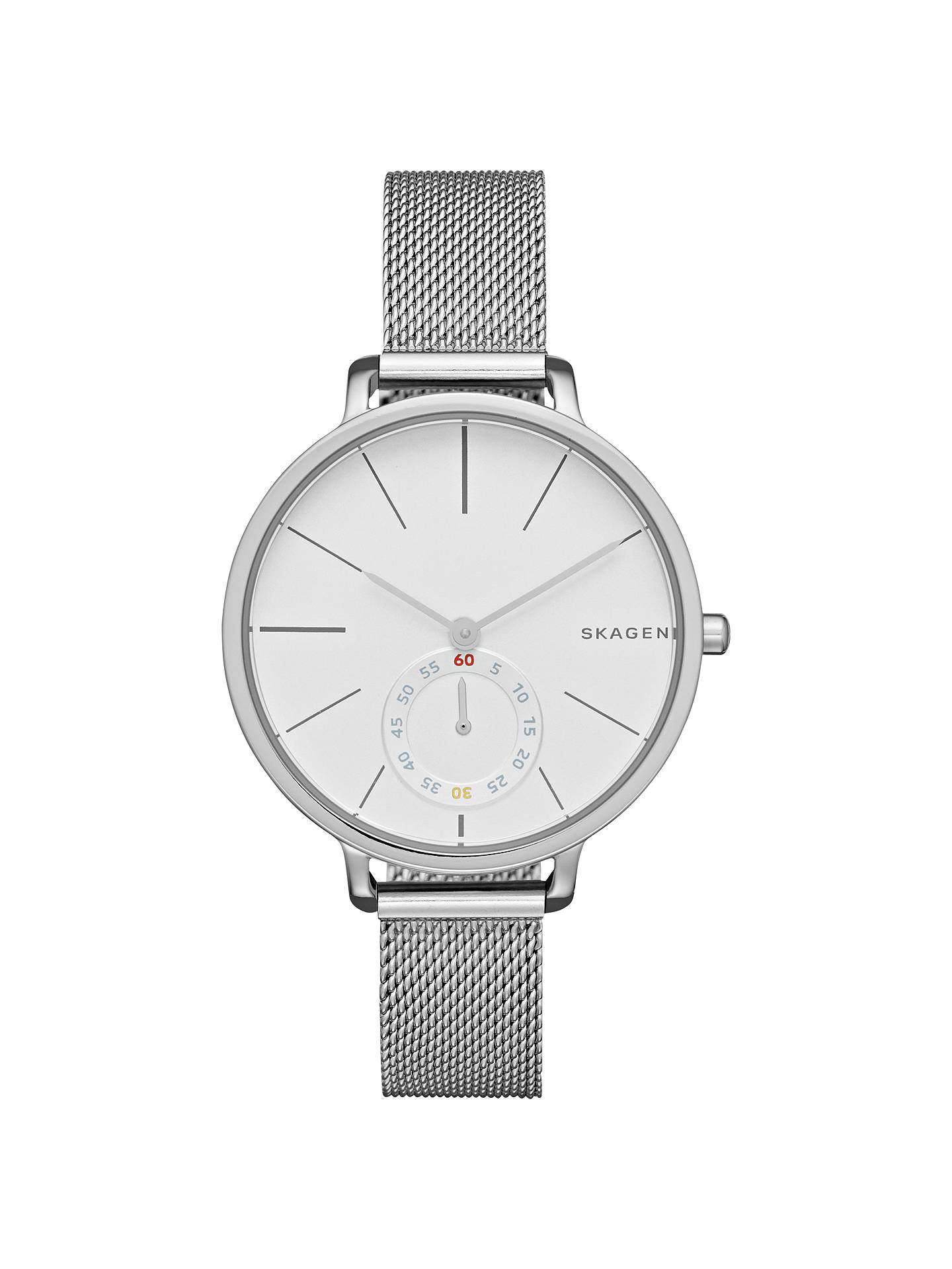 Buy Skagen SKW2358 Women's Hagen Mesh Bracelet Strap Watch, Silver/White Online at johnlewis.com