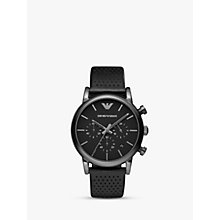 Buy Emporio Armani AR1737 Men's Chronograph Stainless Steel Black Leather Strap Watch, Black Online at johnlewis.com