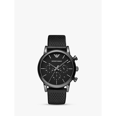 buy emporio armani ar1737 men 39 s chronograph stainless steel black leather strap watch black. Black Bedroom Furniture Sets. Home Design Ideas