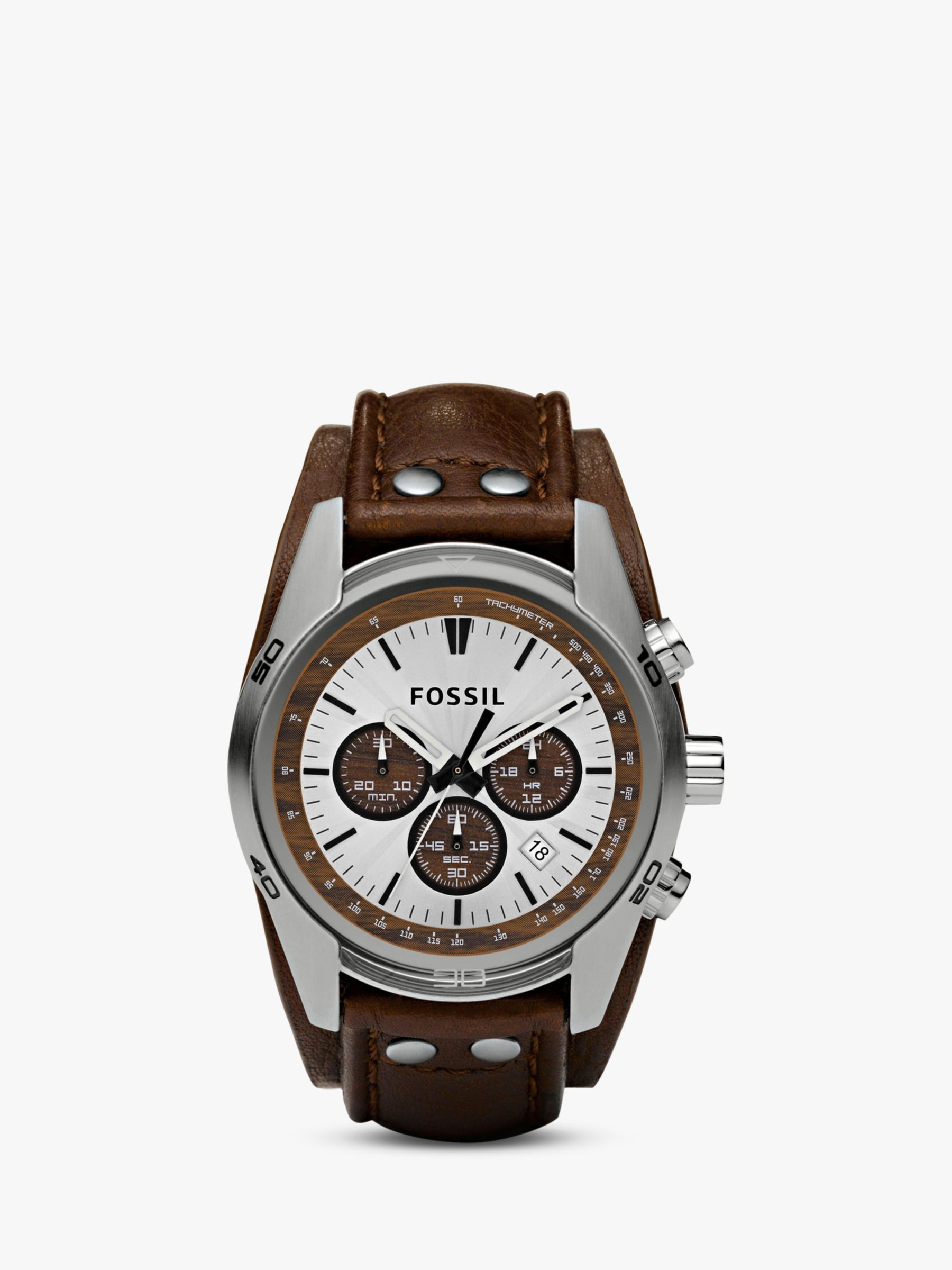 Fossil Fossil CH2565 Men's Coachman Chronograph Leather Strap Watch, Brown/White