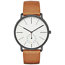Buy Skagen SKW6216 Men's Hagen Leather Strap Watch, Tan/White Online at johnlewis.com