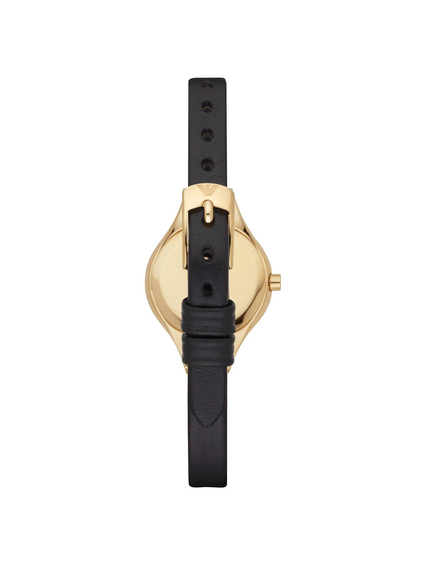 3e5f8474 Emporio Armani AR7405 Women's Chiara Leather Strap Watch, Black at ...